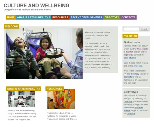 Screenshot of Culture and Wellbeing website