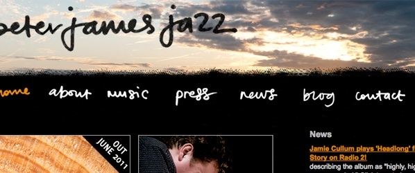 Screenshot of Peter James Jazz website